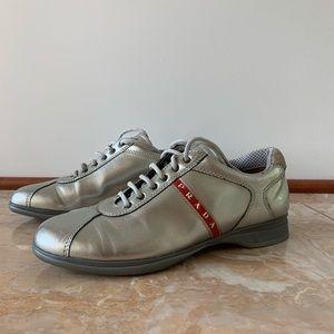 Prada Metallic Lace Up Sneaker